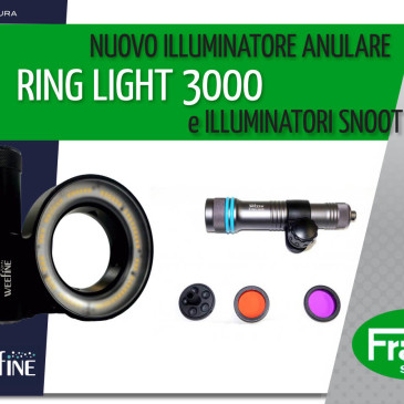 Nuovo illuminatore anulare Ring light 3000 e illuminatori snoot