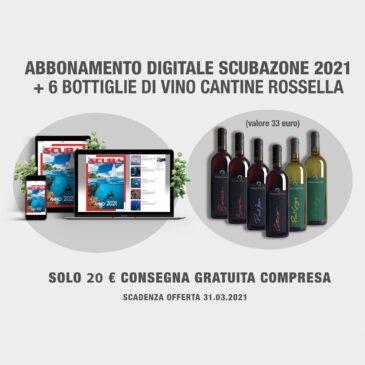 Abbonamento digitale a ScubaZone + 6 bottiglie di vino